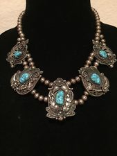 OLD PAWN Navajo Sterling Silver & STORMY MOUNTAIN Turquoise Squash Blossom, 70+