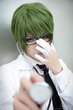 Shintaro Midorima (Kuroko's Basketball) cosplay by YUEGENE. Looks soooo much like the anime character damn!