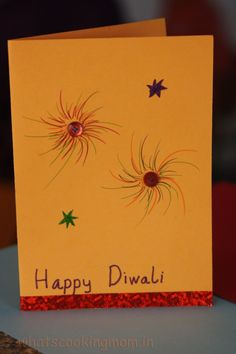 Handmade cards for Diwali - whats cooking mom Diwali Greeting Card Making, Diwali Greeting Cards Images, Diwali Cards, Diwali Greetings, Diwali Diy, Happy Diwali, Xmas Cards, Diy Cards, Diwali Celebration