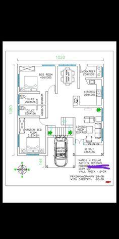 Home Design Floor Plans, Plan Design, House Floor Plans, 30x50 House Plans, 3 Bedroom Floor Plan, Asian House, Indian House Plans, Model House Plan, House Front Design