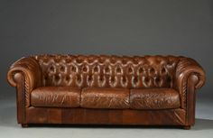 Great vintage Chesterfield sofa in brown leather by ScandinavianLove on Etsy
