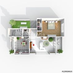 3d interior rendering plan view of furnished home apartment with balcony