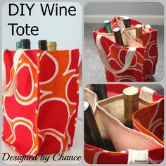 Designed by Chance: DIY Wine Tote: AKA Booze Bag A nice wine tote with divider. Could be useful for all sorts of things that you don't want clinking together! Sac Lunch, Wine Tote Bag, Tote Purse, Diy Sac, Tote Tutorial, Tutorial Sewing, Diy Tutorial, Bottle Bag, Glass Bottle