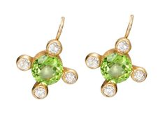 Antique Flowers: Peridot and Diamond Earrings, c. 1900