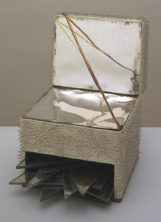 Artwork details  Artist  Lucas Samaras born 1936  Title  Box Date  1963  Medium  Mahogany box, wool, steel pins, glass and acetate film   Dimensions  Displayed: 350 x 255 x 380 mm   Collection  Tate  Acquisition  Presented by Janet Wolfson de Botton 1996   Reference  T07186