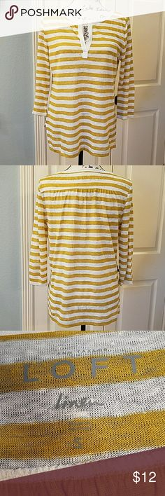 LOFT Top EUC Cute linen knit top.  Has mustard and off-white stripes.  Has 3/4 length sleeves.  Pullover.  Only worn once.  No flaws. LOFT Tops