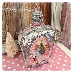 Altered bottle, Vintage Christmas, Silver & pink, shabby chic, crown royal bottle by lilhoneysshoppe on Etsy Wine Bottle Crafts, Bottle Art, Wine Bottles, Patron Bottles, Bottle Painting, Jar Crafts, Glass Bottles, Handmade Christmas Gifts, Vintage Christmas