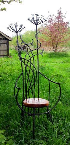 'Oberon's Chair' (2010) by English artist blacksmith & sculptor David Freedman Sculpture. Galvanized wrought iron & burr oak. via the artist's site