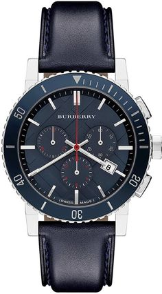Burberry Watch, Men's Swiss Chronograph Blue Leather Strap 42mm BU9383, Designed for the stylish man on the move, this chronograph watch from Burberry brings bold detail with rich blue leather.
