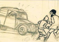 original drawing by Herge (Georges Remi) of the Thompson Twins arriving at Marlinspike Hall in a Citroen 2CV Deaux Cheveaux with Captain Haddock and Tintin watching • Tintin and The Castafiore Emerald • Tintin, Herge j'aime • this illustration by Herge is the reason I bought a Citroen 2CV !  • riawati