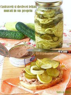Courgette/ Cucumbers Pickles Veggie Recipes, My Recipes, Vegetarian Recipes, Canning Pickles, Pita, Good Food, Yummy Food, Romanian Food, Romanian Recipes