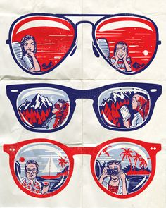 Pop Art Vacation Reflections in Sunglasses