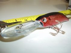 "Red 5"" Bass Striper Walleye Pike Musky Lure Rattle Head Deep Diver 0.7 oz.China"