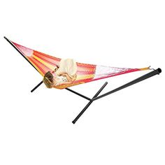 The soft yet durable Sunnydaze Decor Hand Woven 2 Person Mayan Hammock with Stand boasts cotton and nylon construction for lasting use. This hammock,. Mayan Hammock, Rope Hammock, Hammock Swing, Hammock Chair, Hammocks, Best Camping Hammock, Thing 1, Ways To Relax, Hand Weaving