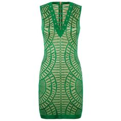 Balmain Sheer Knit Lace-Up Dress ($1,795) ❤ liked on Polyvore featuring dresses, fitted dresses, green cocktail dress, lace up corset, going out dresses and bodycon dress