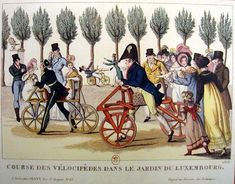 Racing velopides/ dandy horses 1818. Only men are taking part but the ladies are keen lookers-on.