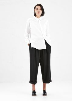 Comme des Garcons COMME Assymetrical White Shirt in White #totokaelo #commedesgarcons