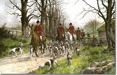 Fox hunt I don't know who the artist is. Forms Of Poetry, Fox Hunting, Hunting Art, Equestrian Decor, The Fox And The Hound, Dog Paintings, Beautiful Paintings, Scene, Horses