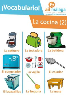 Some #Spanishvocabulary about things you find in the #kitchen :D #LearnSpanish #SpanishSchool #SpanishVocab