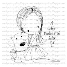 A cuddle Makes it all better by alldressedupstamps on Etsy