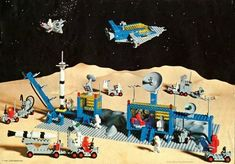 There is a great revival of LEGO Classic Space. Join the fun and learn about the LEGO Classic Space sets! Classic Lego, Classic Toys, Lego Spaceman, Robot, Lego Vintage, Lego Space Sets, Lego Kits, Ornament Drawing, Lego Boards