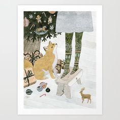 Christmas tree decorating Art Print by yuliyart