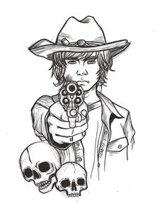 Carl Grimes, Walking Dead Drawings, Walking Dead Tattoo, Arte Zombie, Zombie Art, The Walking Dead, Chandler Riggs, Art Lesson Plans, Adult Coloring Pages