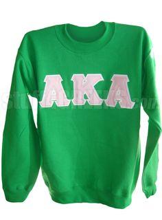 ALPHA KAPPA ALPHA GREEK LETTER CREWNECK SWEATSHIRT, KELLY GREEN  Item Id: PRE-SWCR-AKA-BASIC_LTR_KLY    Price: $59.00