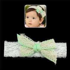 "Girls White Lace Stretch Headband with Green Bow by Crystalmood [Hair Jewelry]. $13.80. Bow: 4"" by 2.25""; headband: 1.5"" wide, 13.5"" in circumference while not stretched.. All measurements are approximate.. A cute concept for an elegant baby! This ribbon inspired head band is the perfect accent for your little one keeping pretty and breezy throughout the day."