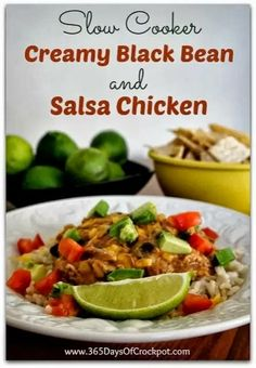 4 frozen boneless, skinless chicken thighs 1 cup salsa or picante sauce 1 cup frozen corn 1 (15 oz) can black beans, drained and rinsed 2 Tb...