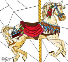 Carousel horse stained-glass by FireDragon101