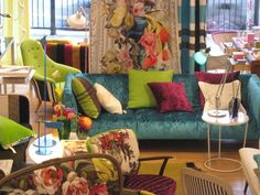 I love the riot of colour and pattern, Designer's Guild is genius.