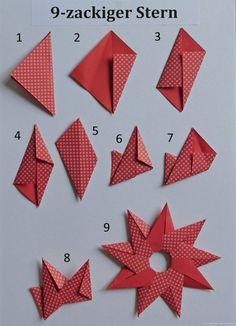 Sonne Oder 9 Zackiger Stern PapierZen Avec Origami Sterne Falten Anleitung Et C . - Sonne Oder 9 Zackiger Stern PapierZen Avec Origami Sterne Falten Anleitung Et C Birgit Ebbert 9 Zac - Paper Crafts Origami, Easy Paper Crafts, Origami Art, Diy Paper, Origami Folding, Paper Folding, Free Paper, Modular Origami, Folding Money
