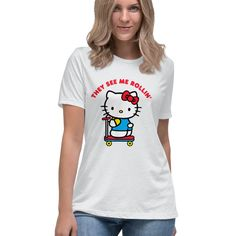 Hello Kitty Scooter Ride They See Me Rollin for people who love hello kitty apparel Hello Kitty T Shirt, They See Me Rollin, Sweater Hoodie, T Shirts For Women, Hoodies, People, Sweaters, Mens Tops, Color