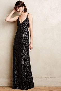 """Anthropologie Starlight Sequin Gown """"By Contrarian. Nylon; polyester lining. Slim maxi silhouette with open-back styling. Sequin detail. Back zip. """" 