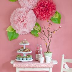 Spring is in bloom, and this Mother's Day, why not bring blossoms indoors for your brunch celebration? With these pretty Martha Stewart craft items, this table is ready for Mom. I used Pink Layered Pom Pom Stickers, Vintage Girl Specialty Ribbons, Vintage Acrylic Flower Embellishments, Vintage Girl Pink Pom Poms, Vintage Girl Cupcake Wrappers, Vintage Girl Food Picks, Vintage Girl Coasters, Doily Lace Cupcake Stand, and the Circle Edge Punch Starter Kit. #madeformom