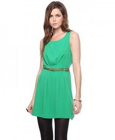 Bealted Pleated Dress from forever21 $15 , this a terrible photo, b/c the actual dress is a rich vibrant green..❤ It.