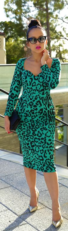 I adore this dress. Instead of have the animal prints in brown and black, this look is teal green and black, in the animal print. Gorgeous !!!