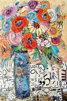 """Pump Up the Volume, 12091"" - Original Fine Art for Sale - © Nancy Standlee 36x24 a mixed media on canvas acrylic and torn paper collage"