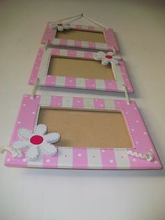 """DE CORAZON..para los mas chiquitos""Objetos artesanales de decoracion infantil...: 03/01/11 Frame Crafts, Wood Crafts, Diy And Crafts, Crafts For Kids, Paper Crafts, Marco Diy, Mirrored Picture Frames, Country Paintings, Art N Craft"