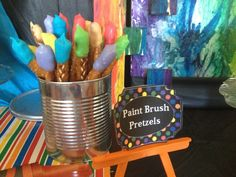 Paint Brush Pretzels for an Art Party #paintbrush #artparty