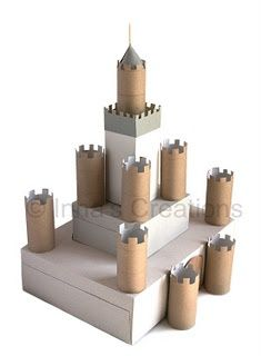 would make a great cupcake stand for a knight party .Make a cardboard castle using discarded boxes and toilet paper rolls Toilet Paper Roll Crafts, Cardboard Crafts, Paper Crafts, Toilet Roll Craft, Cardboard Tubes, Projects For Kids, Diy For Kids, Crafts For Kids, School Projects