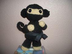 Amigurumi Monkey Ninja I crocheted for my husband