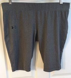 "Womens Under Armour XL Shorts Fitted Heatgear Gray 12"" Inseam Poly/Spandex  | eBay"