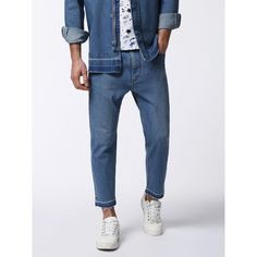 Diesel D-BRAD Pants ($198) ❤ liked on Polyvore featuring men's fashion, men's clothing, men's pants, men's casual pants, light blue, men, pants, pants & shorts and mens light blue pants