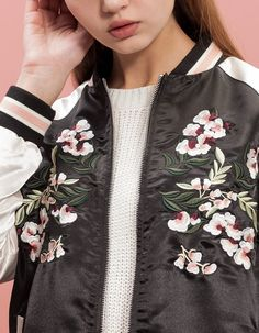 New spring and summer embroidery plum notes stradivarius both positive and negative wear long-sleeved jacket baseball uniform jacket - Taobao global Station Fashion Details, Love Fashion, Korean Fashion, Fashion Outfits, Fashion Trends, Bomber Jacket Embroidery, Embroidered Bomber Jacket, Gypsy Style, My Style
