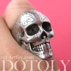 Realistic Skull Skeleton Bone Ring in Silver with Tattoo Floral Detail   dotoly - Jewelry on ArtFire