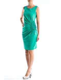 Rochie verde smarald cu drapaje si floare pe sold  Brand: Vasuvio Shoulder Dress, One Shoulder, Dresses, Fashion, Green, Gowns, Moda, Fashion Styles, Dress