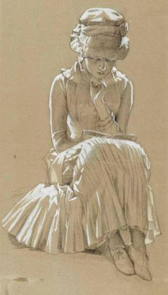 "huariqueje: "" A Girl Reading - Albert Edelfelt Finnish painter Drawing "" Girl Reading, Reading Art, Reading Books, Art And Illustration, Illustrations, Figure Drawing, Painting & Drawing, Toned Paper, Inspiration Art"