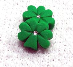 Shamrock Beads Handmade from Polymer Clay  Small by BarbiesBest, $3.00